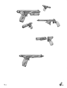Mason Laser Gun Sketches - Gallery Illustrations Classic View - These various crystalline technology energy beam guns have transparent casings.