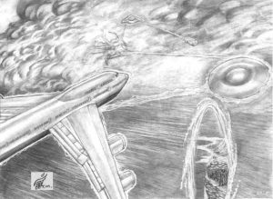 Contact Over The Bermuda Triangle Scene - Gallery Illustrations Classic View - This 747 jet with Harry, Judith, and diplomats aboard gets temporarily captured by Kalem's ship.
