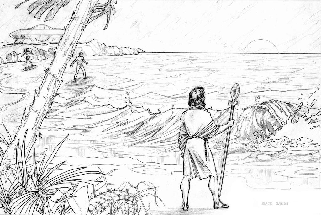 Scene - Kalem and Mayleena approach Ra Mu on this ancient Lemuria black sand beach.