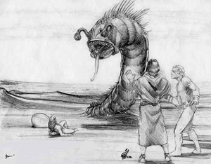 The Sand Daringe Attack Scene - Gallery Illustrations Classic View - Ra Mu sends this startled creature away from attacking Mayleena & prevents Kalem from shooting it.