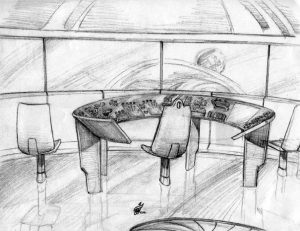 Captain Kalem's Scout Ship Control Room Sketch - Gallery Illustrations Classic View - The crystalline control console inside Kalem's ship is revealed.