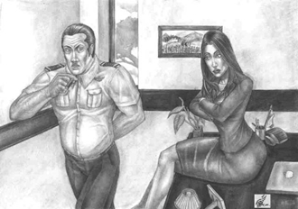 Harry and Judith Office Scene - Gallery Illustrations Classic View - Harry & Judith are in a battle of wills in her Washington, D.C. office.
